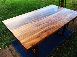 1954 Hawaiian Koa Dining table with Antherium shield legs