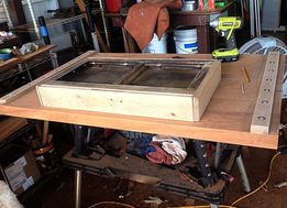 """DRAWER BEING INSTALLED ON  THE 2"""" AFRICAN MAHOGANY TABLE"""