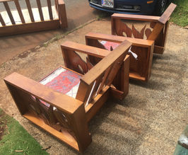 1940 Hawaiian Koa Side Craving Chairs