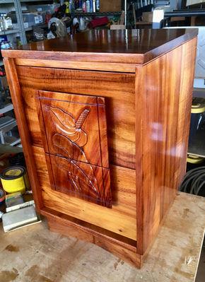SOLD 1950u0027s Hawaiian Koa 2 Drawer Side Table