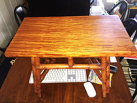 Restored1930's Narra wood and Rattan Table