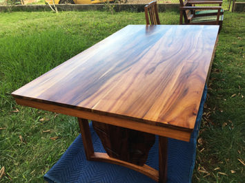 1954 Hawaiian Koa Dining table with Antherium shield legs