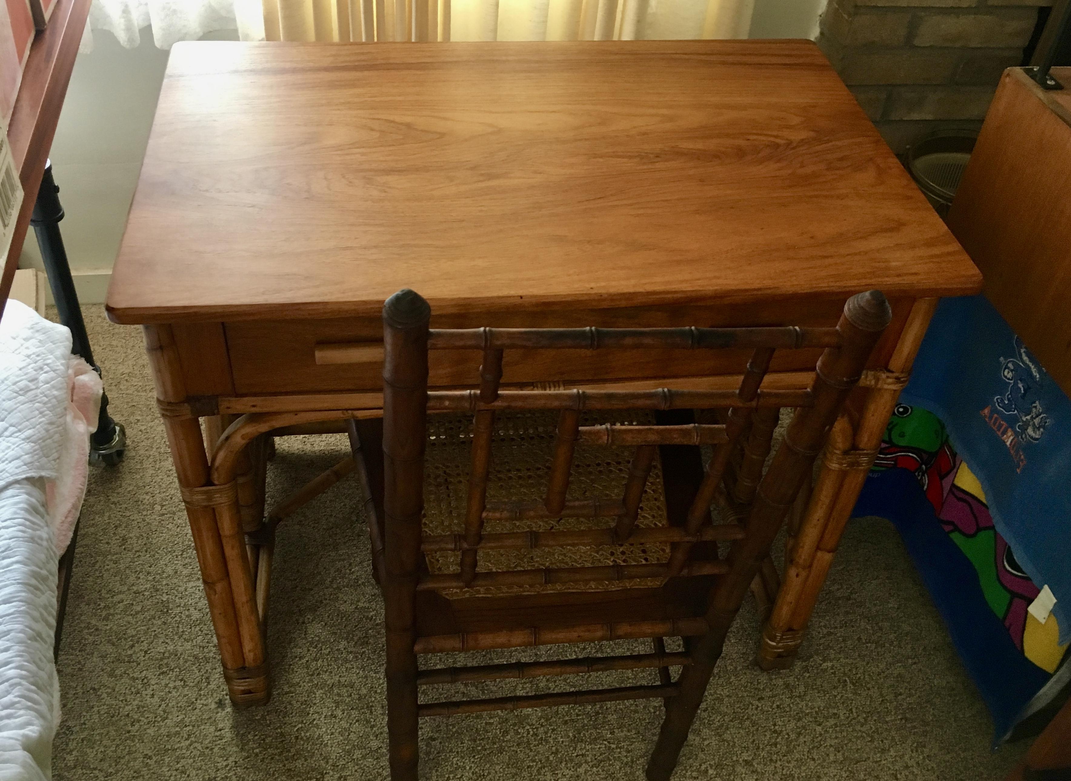 SOLD Narra Wood & Rattan Desk.