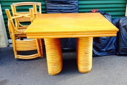 1930's Rattan Table and 6 Chairs