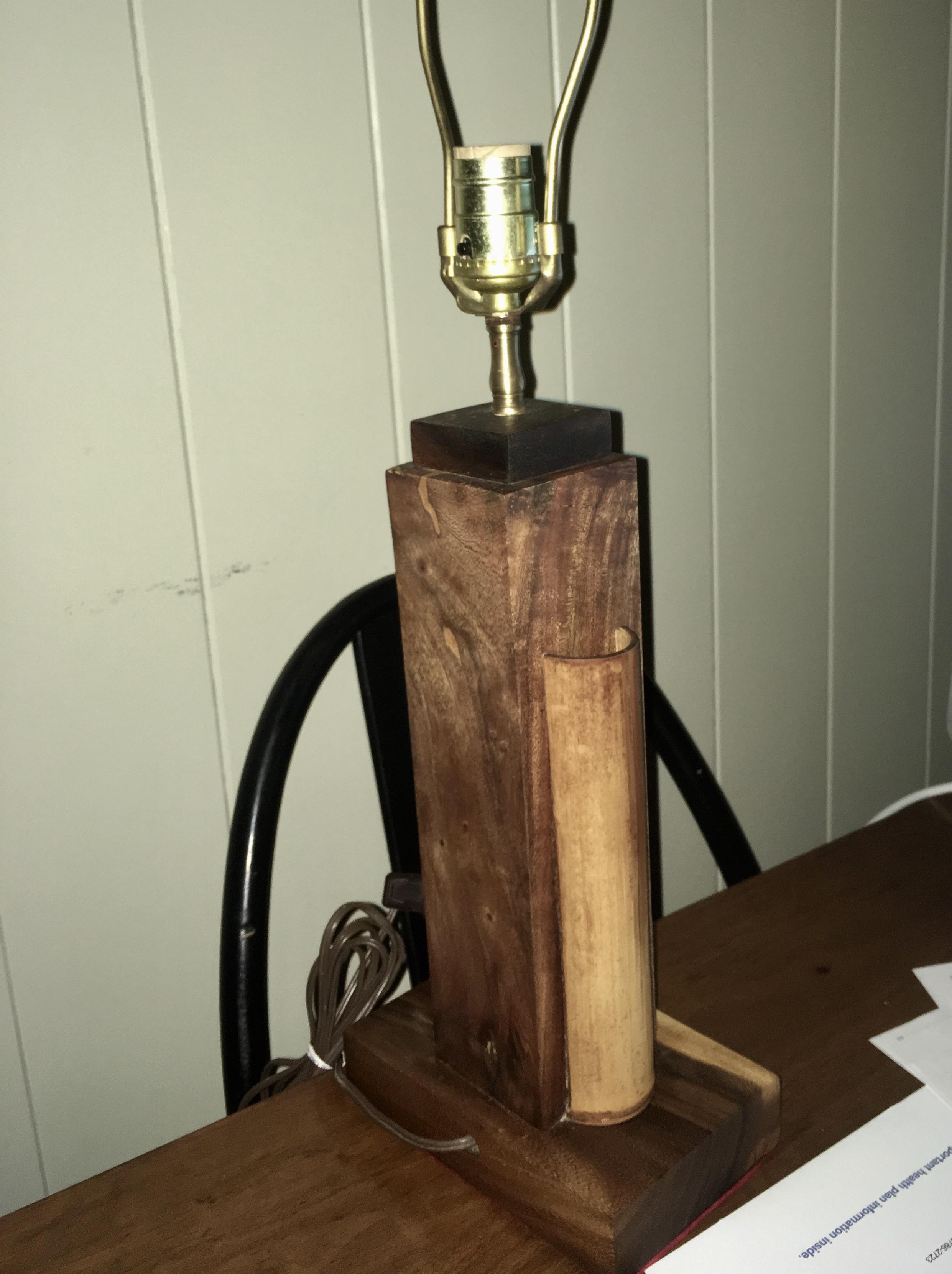 1950's Hawaiian Monkey pod lamp