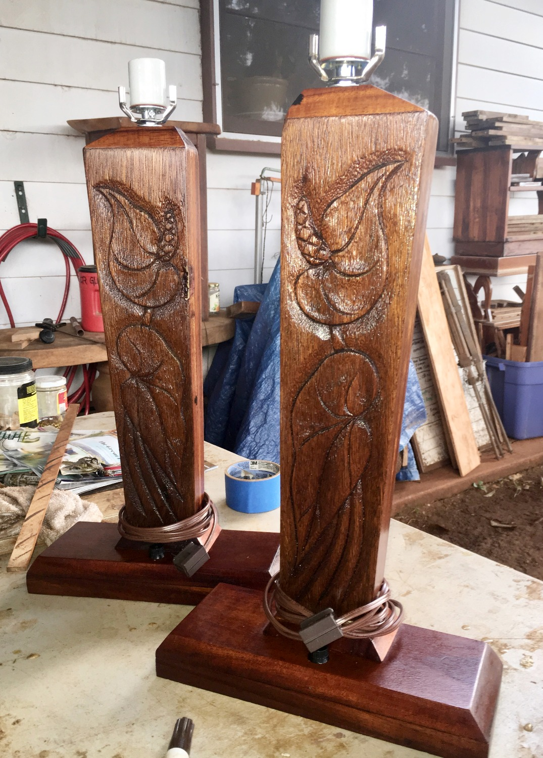 SOLD 1950s Carved Anthuriums Lamps