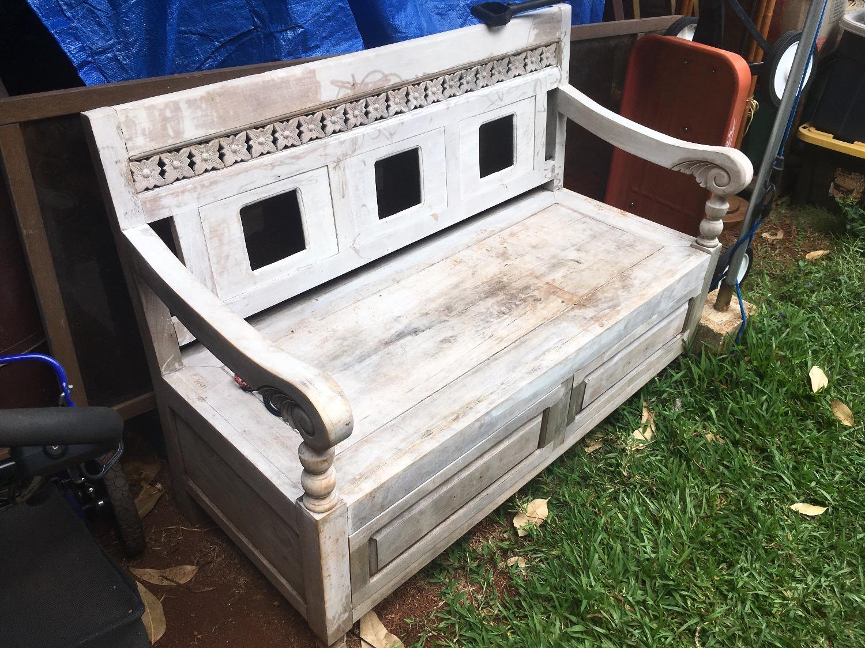 SOLD 1950's Carved Teak Bench