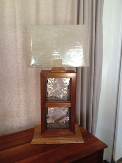 Mahogany Glass Block Table Lamp