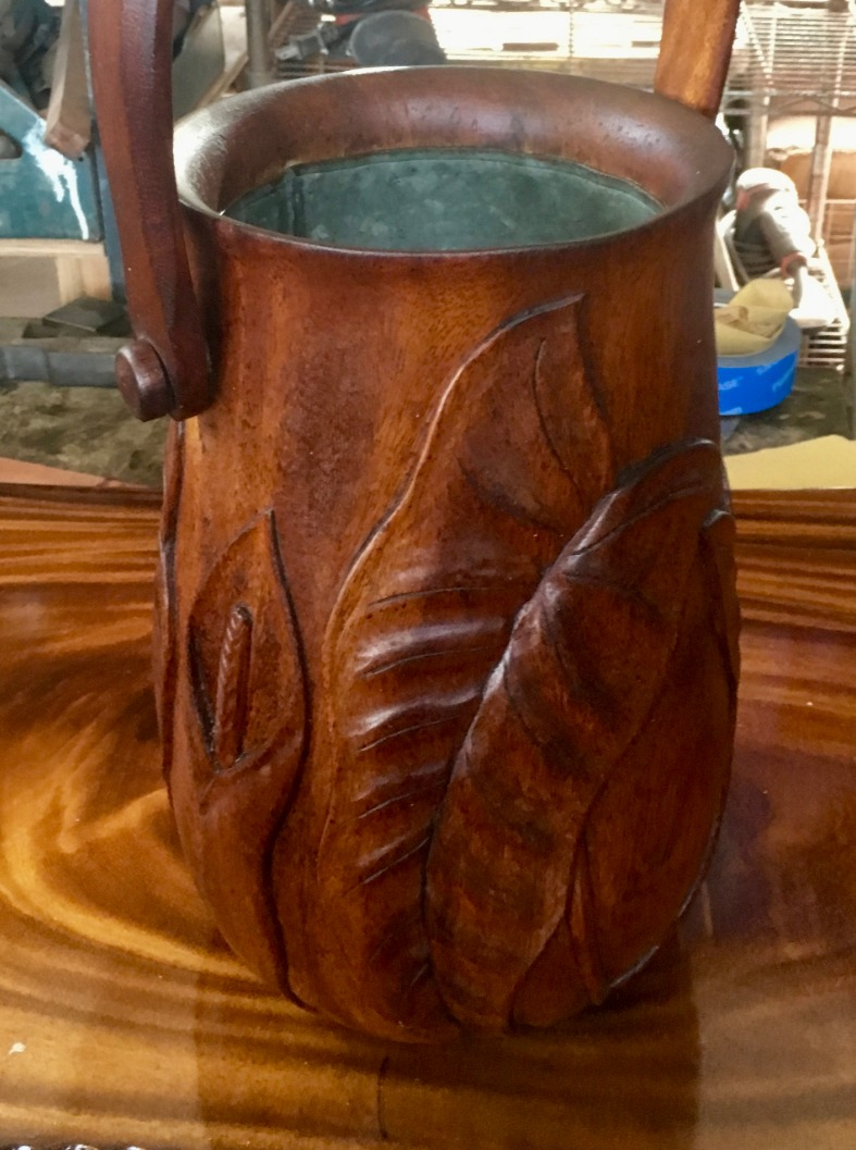 SOLD  1940/50 Carved Koa Ice Bucket