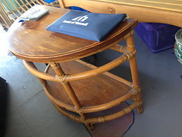 1930's Narra wood and Rattan Round End Tables - Before
