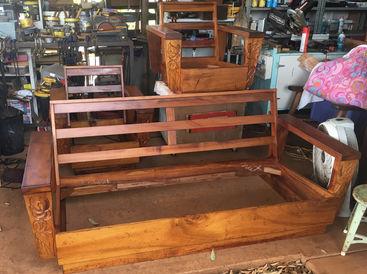 1930's Hawaiian Koa platform set - CLEANING AND WAXING