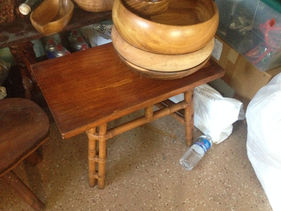 1930's Narra wood and Rattan Table