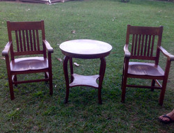 Koa Entry Table and Captain chairs
