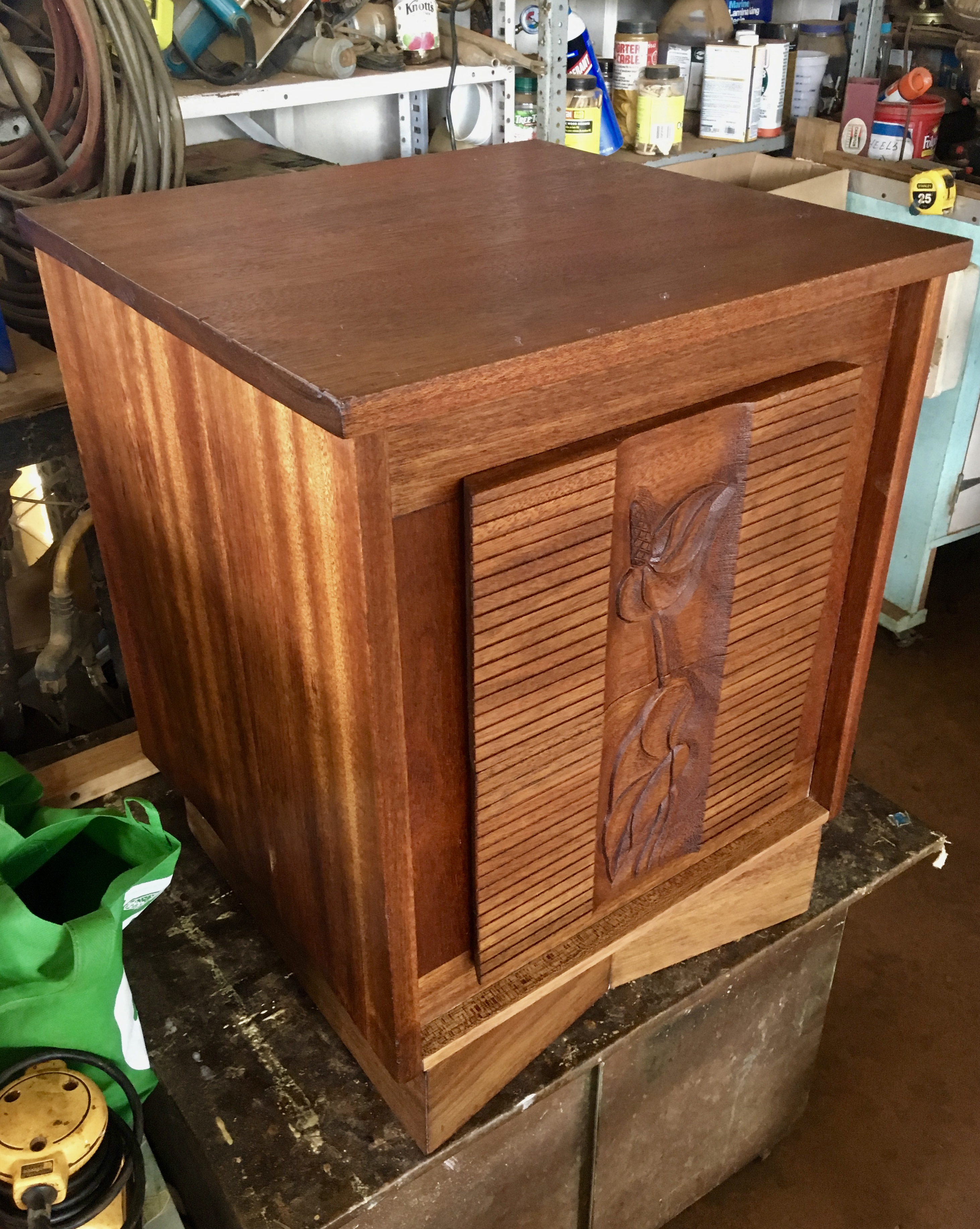 59684e0776 Completely restored 1950s Vintage Hawaiian Solid Mahogany 2 drawer side  table