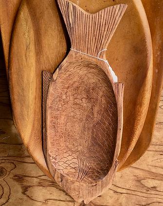 """30's Hand Carved Hawaiian Koa Fish Platter 22"""" x 8"""""""