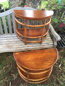 1930's Narra wood and Rattan Round End Tables - Qriginal Finish - Frenched Waxed