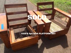SOLD 1930's 5 pcs Koa Platform set