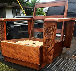 late 1930's Hawaiian Koa Platform Chair just arrived