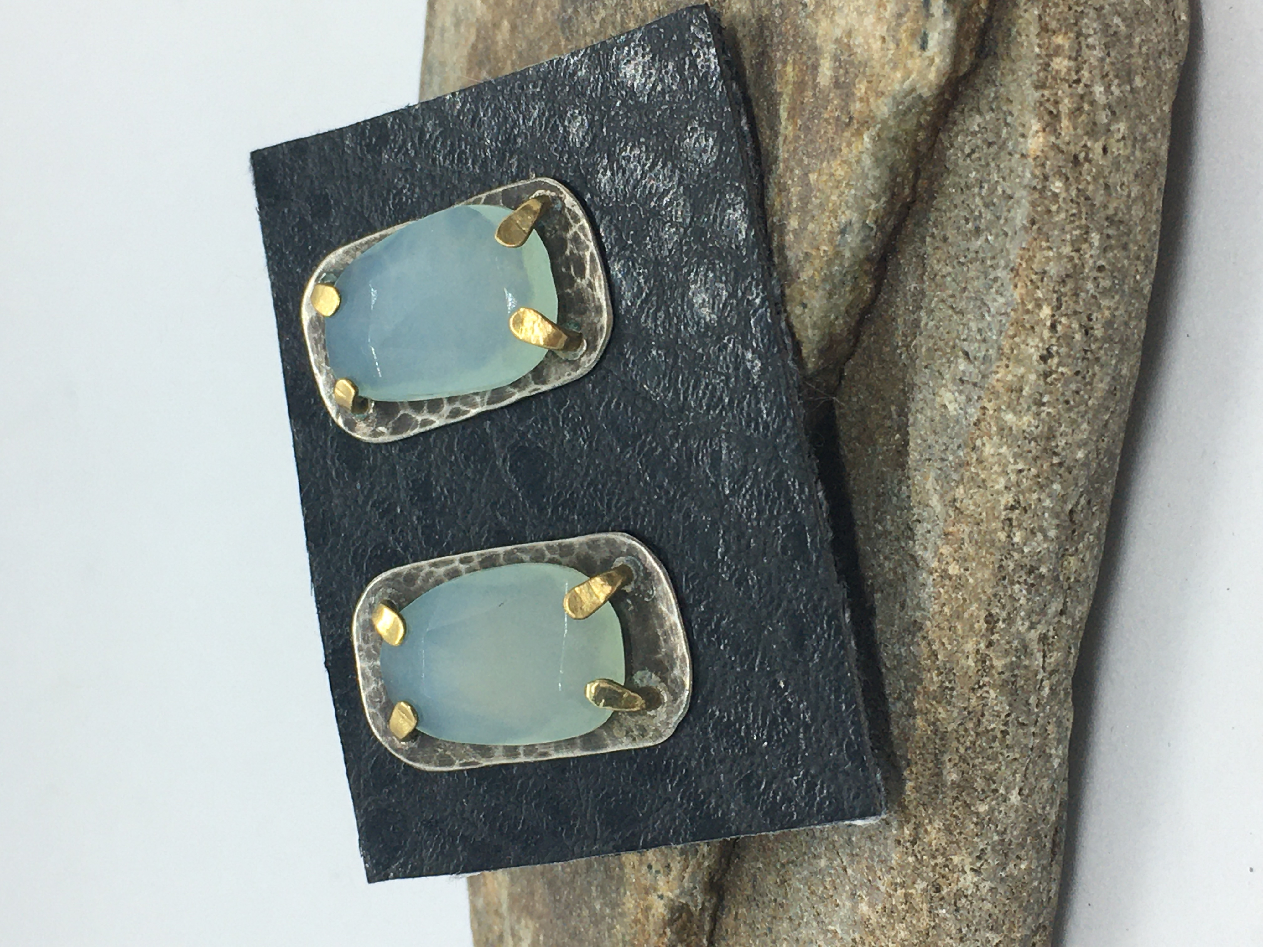 Blue Chalcedony post earrings
