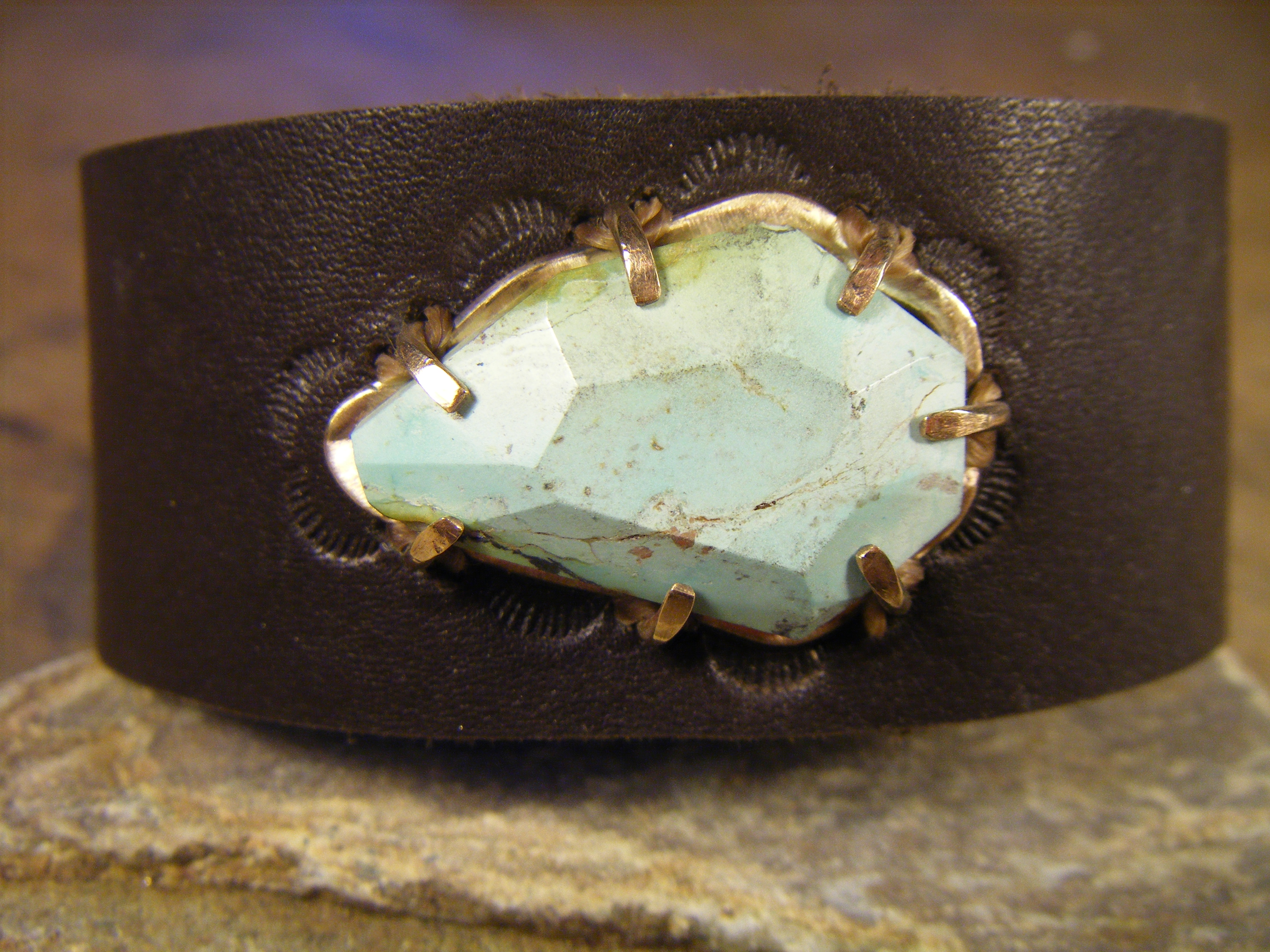 Hand-Cut Turquoise on leather