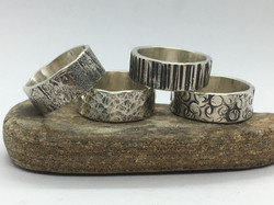 10mm Wide Silver Texture Bands