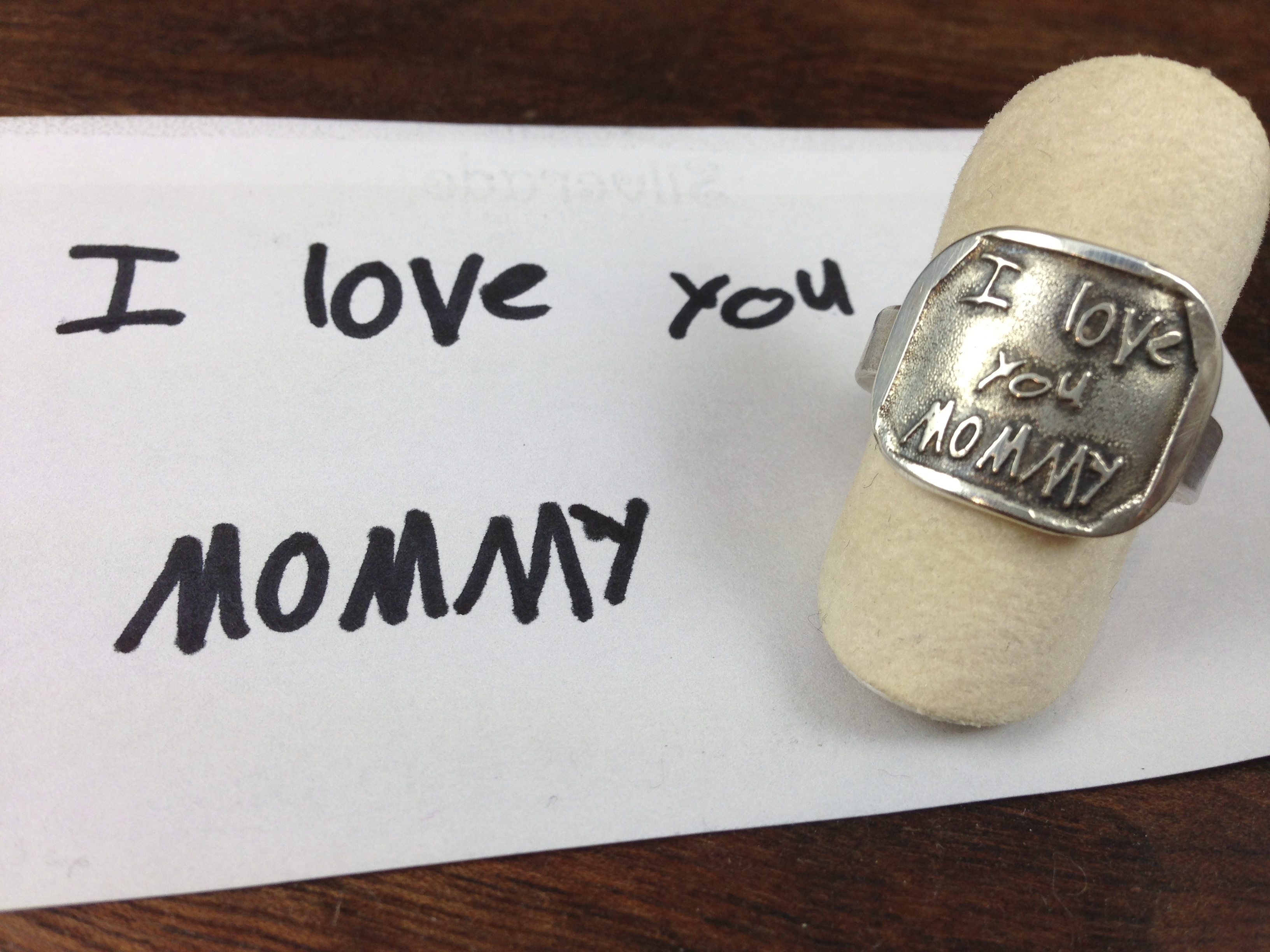 "Etched Silver ""handwriting"" ring"