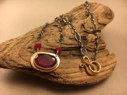 Bezel Set Ruby Necklace