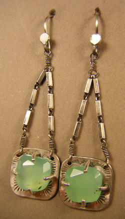 Faceted Chrysoprase Silver Dangles