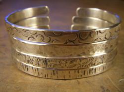 Textured Silver Cuff Bracelets