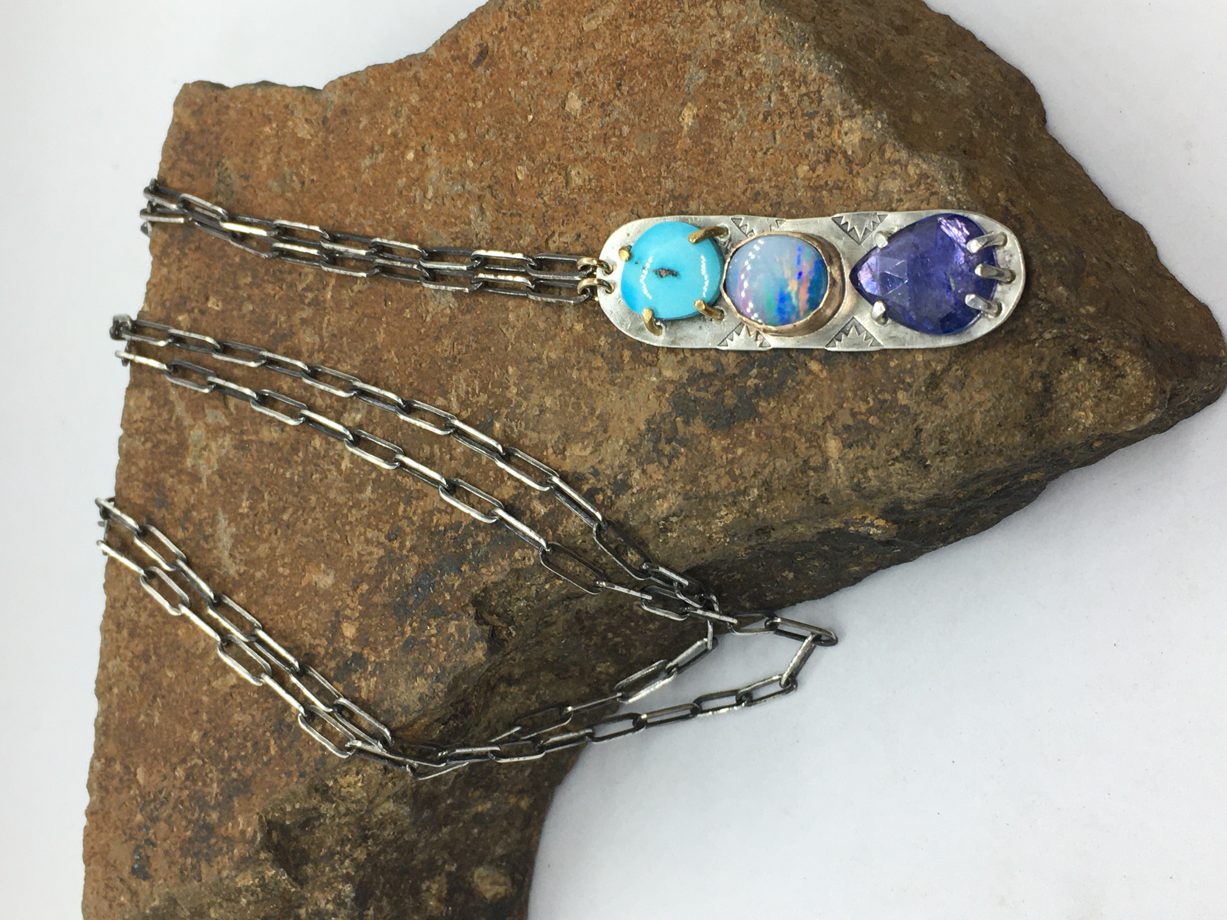 Triple stone necklace