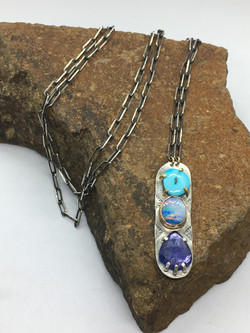 Triple stone necklace