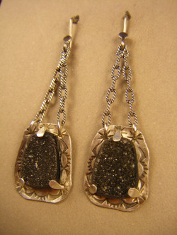 Black Drusy on silver