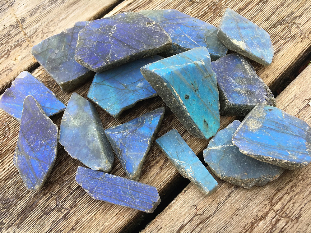 Raw sliced blue labradorite stones