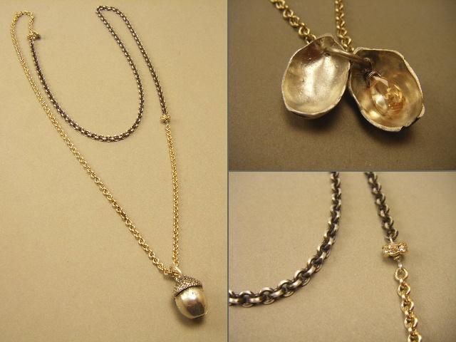 2-Tone Acorn Necklace