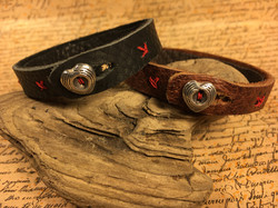 Leather with Heart Button Clasp