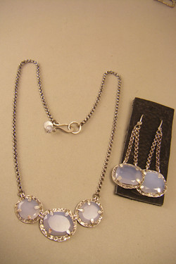 Blue Chalcedony Necklace & Ears