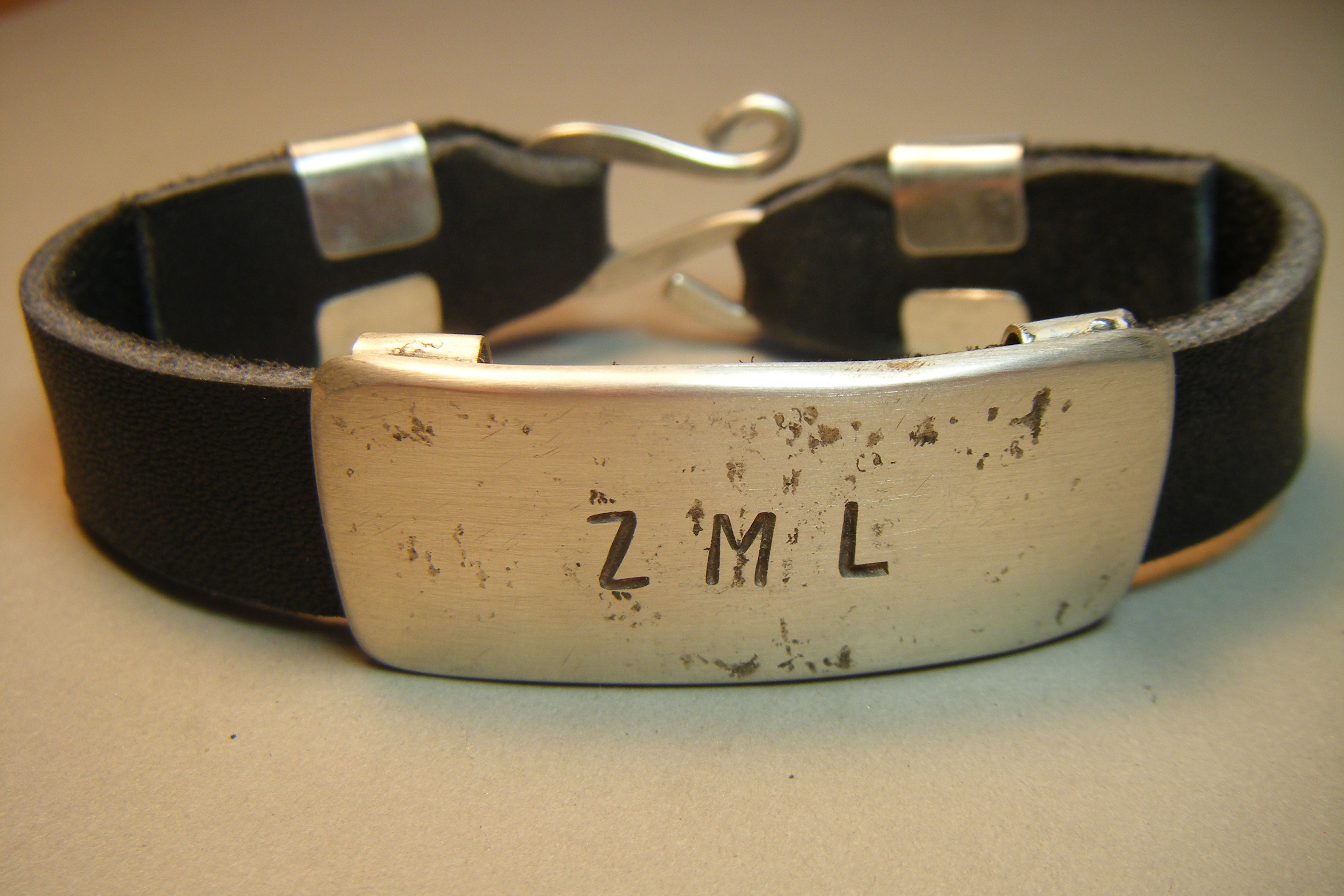 Heavy Silver & Leather ID bracelet