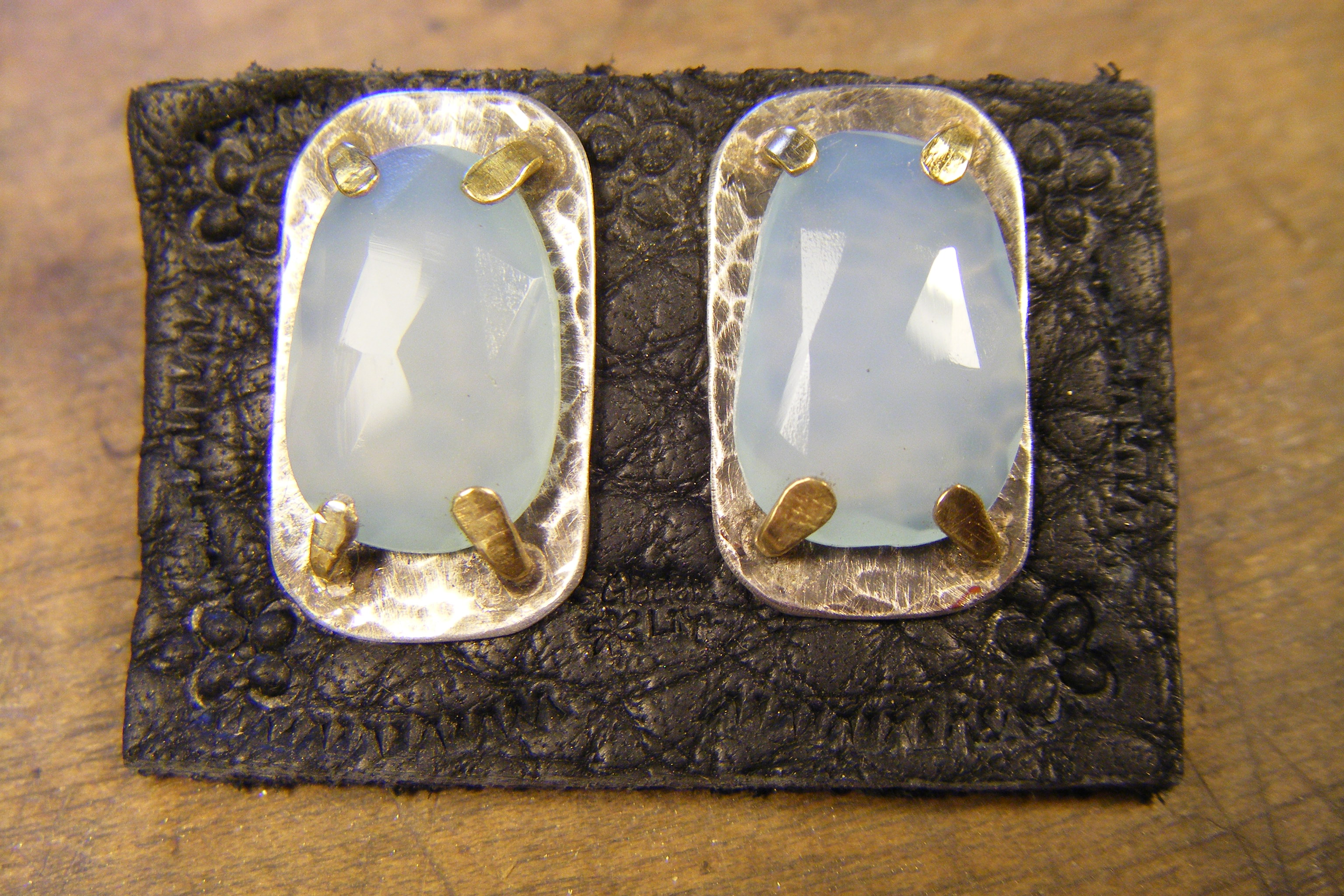Blue Chalcedony & 22kt posts