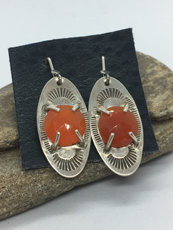 Carnelian Silver Oval Earrings