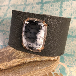 Dendritic Agate Leather Bracelet