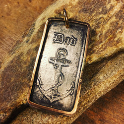 Etched Anchor Dog Tag