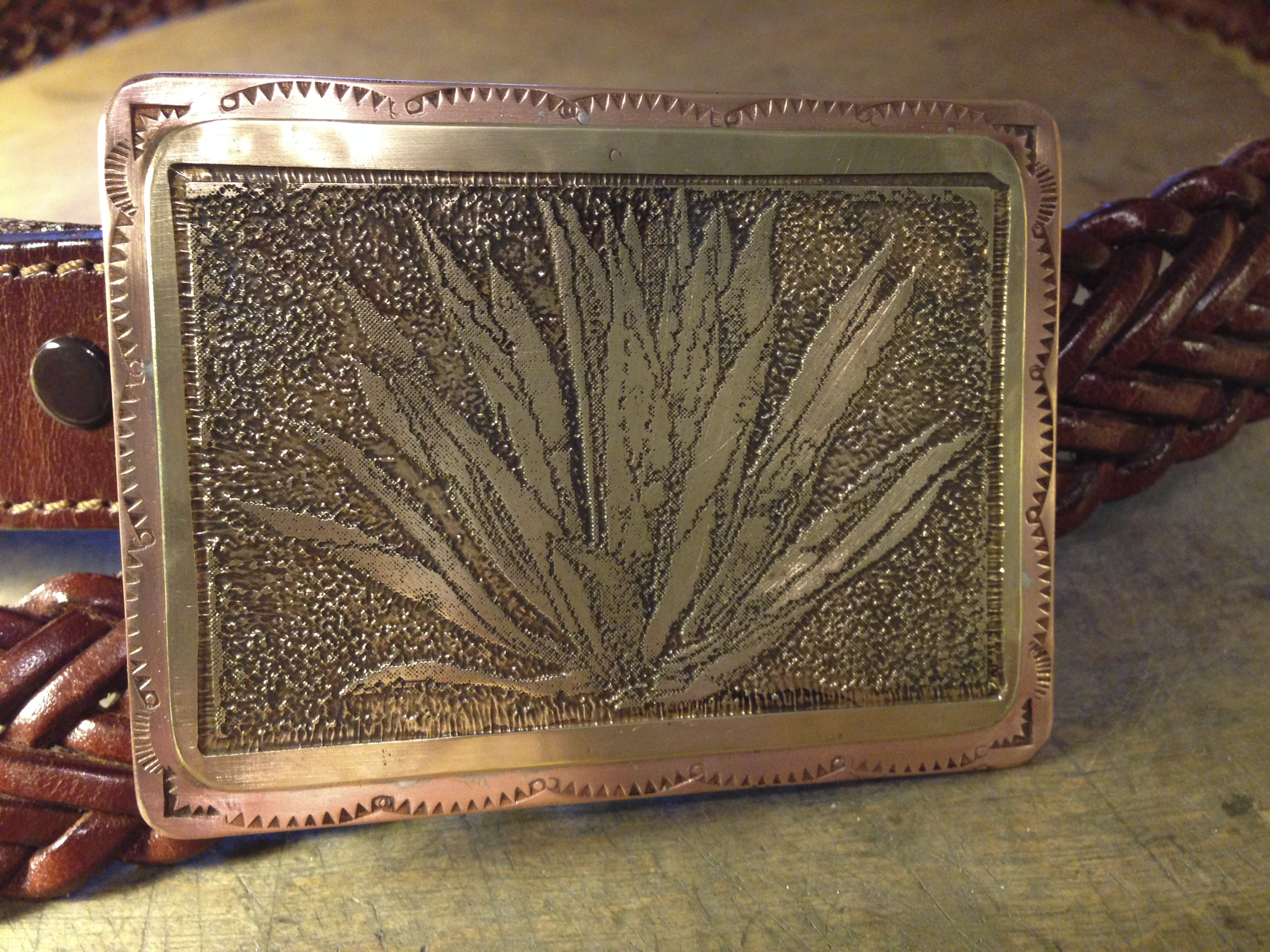 Etched Brass & Copper Belt Bucklet
