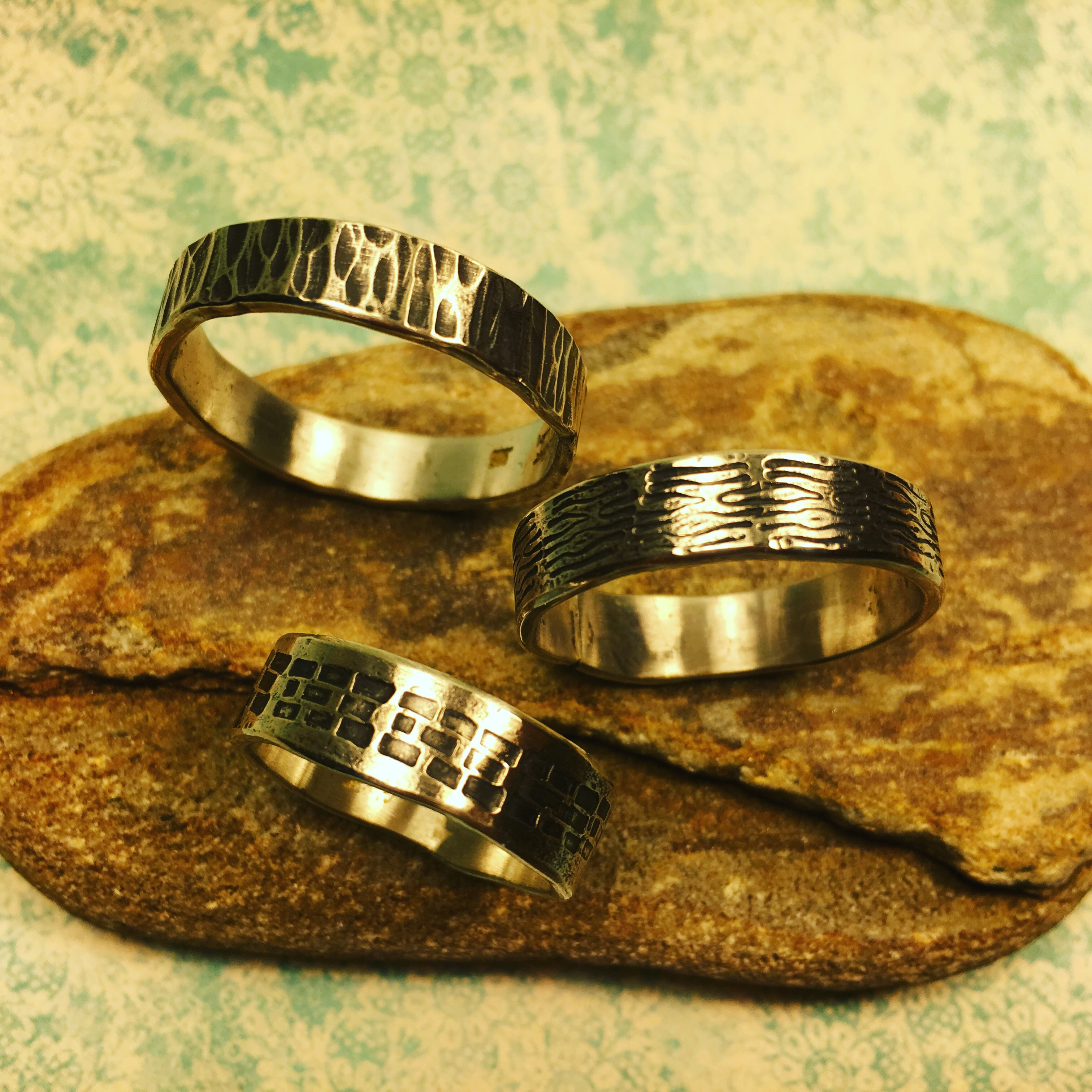 10, 7 & 5 mm silver bands
