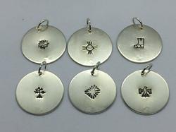 "1"" silver disc pendants"