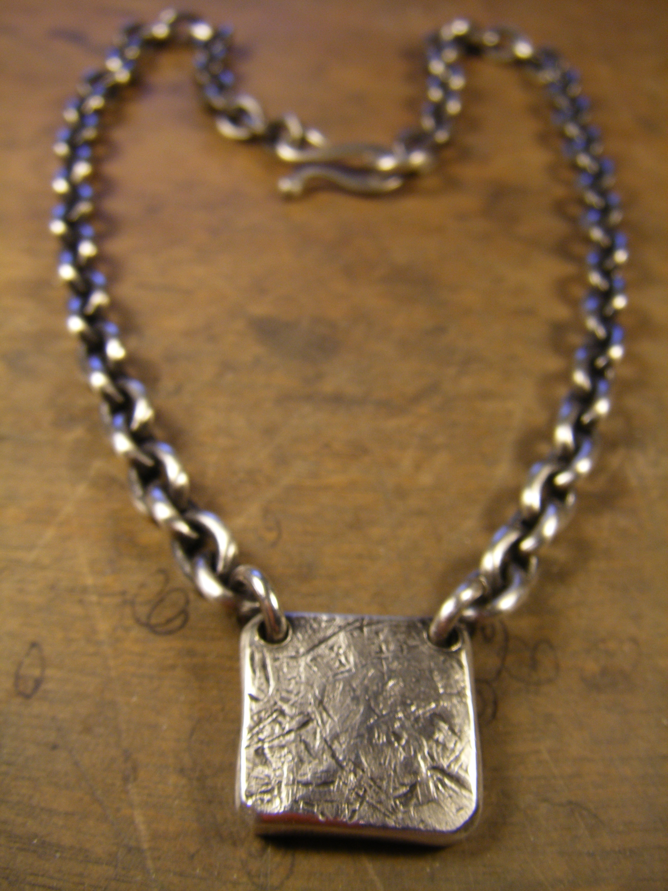 Heavy Silver Pounded Pendant