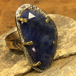 Blue Sapphire Silver & Gold Ring