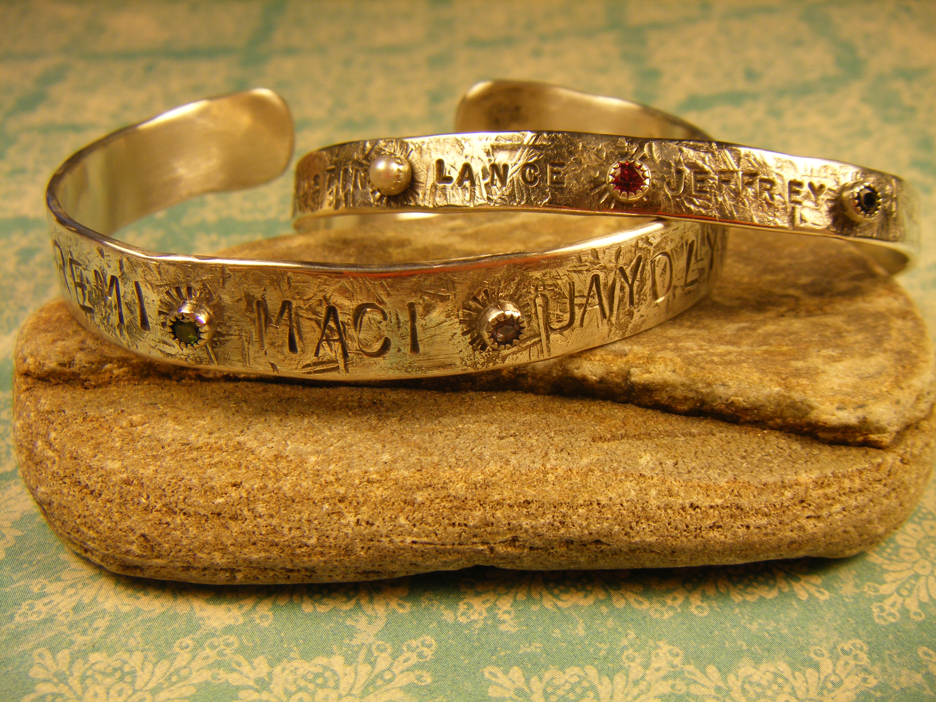Silver cuffs with birthstones