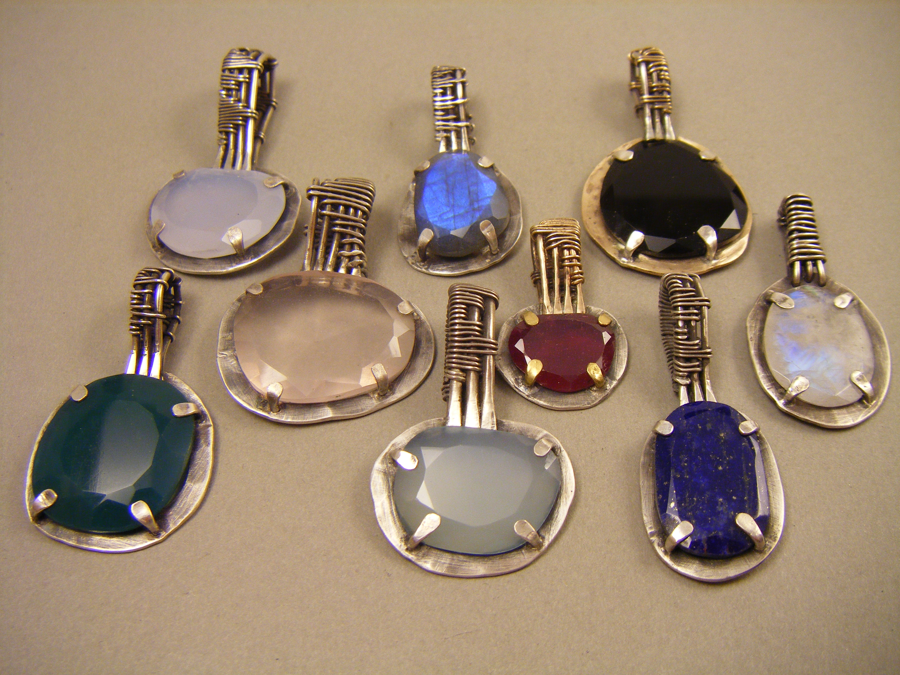 Rose-cut stone pendants