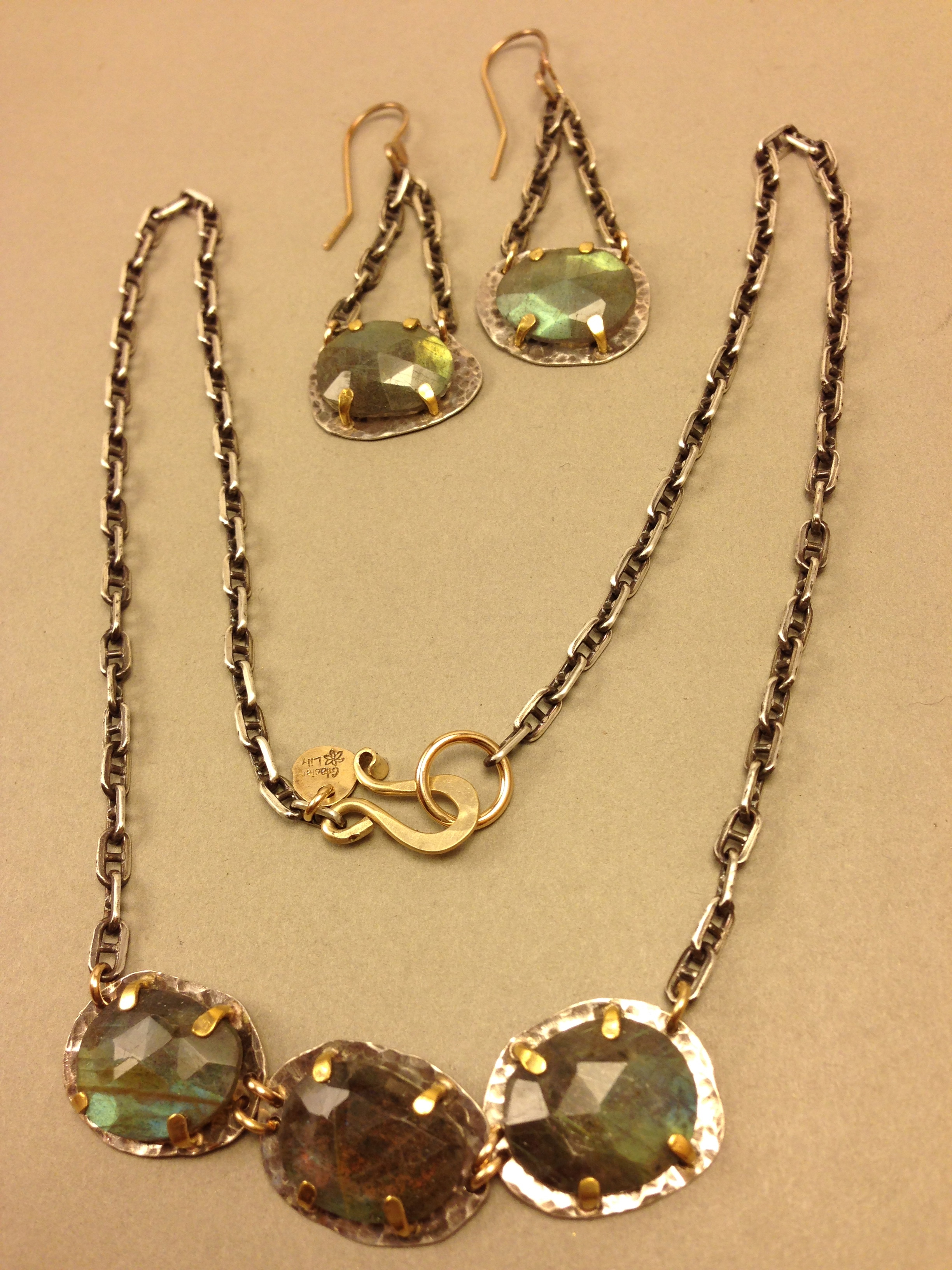 Triple Labradorite Necklace & Ears