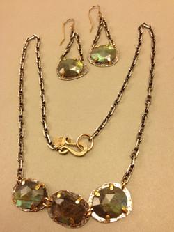 Triple Labradorite Necklace & Ears